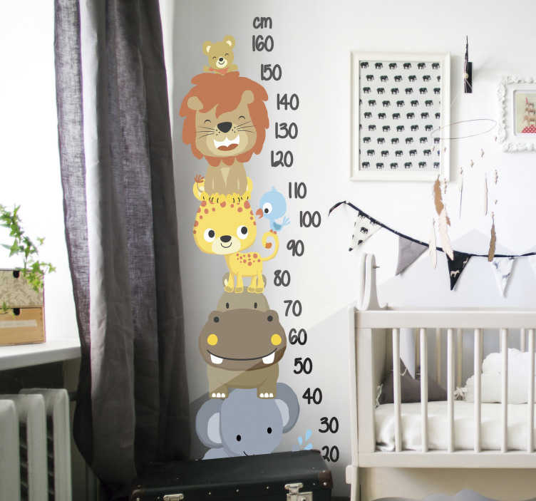 TenStickers. Meter with animals stacked height chart wall decal. Decorative height chart wall sticker with lovely calibration in well legible appearance. It has has jungle animals on it.  Buy it in an ideal size.