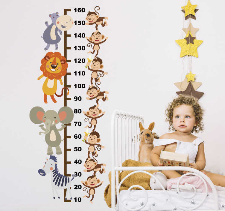 TenStickers. Meter met dieren meetlat zelfklevende sticker. Decoratieve groeimeter muursticker voor kinderen met het ontwerp van jungle dieren erop. Kies het in de gewenste maat voor een oppervlak.