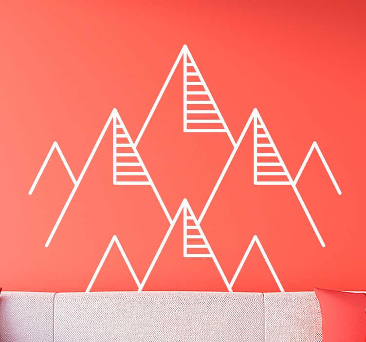 TenStickers. 기하학적 산 추상 스티커. 가정 또는 사무실 공간을 장식하는 기하학적 추상 산 라인 벽 스티커. 선호하는 색상과 크기로 구입하십시오.