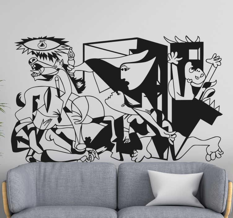 TenStickers. 게르니카 비닐 벽 예술. Guernice의 본래 벽 예술 디자인. 욕망 표면에 가장 적합한 크기 옵션 으로이 역사적인 아트 데칼을 구입하십시오. 적용하기 쉽습니다.