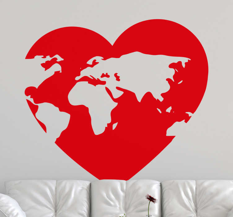 TenStickers. Heath shape world world map sticker. Wall art sticker of a heart shape with map on it. A beautiful design for home and office space. Choose it in any colour and size of choice.