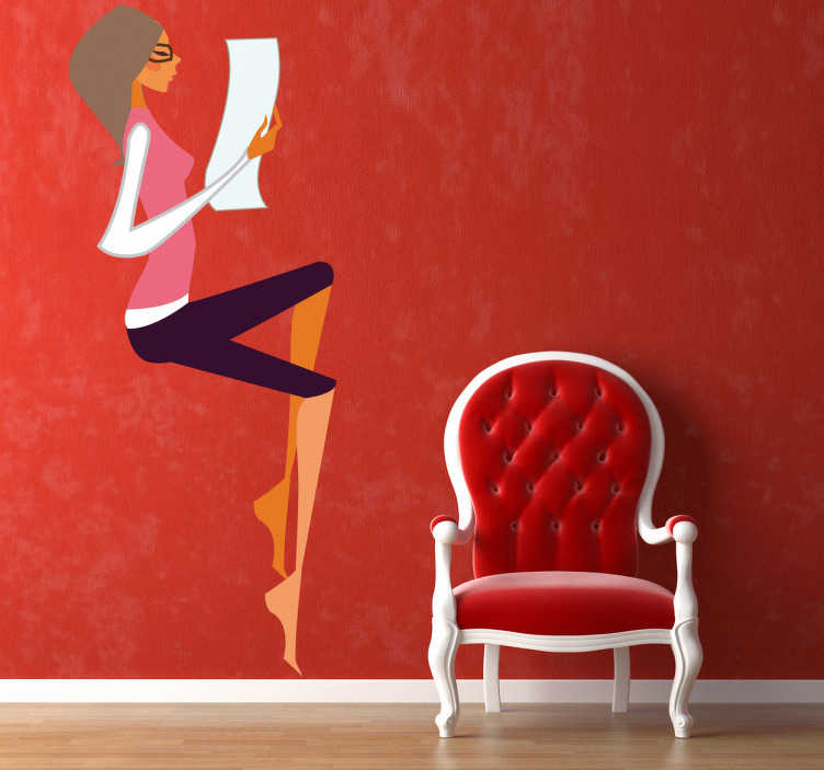 TenStickers. Woman Reading Wall Sticker. A superb fashion wall sticker illustrating young woman reading a document. Great shopping decal to decorate your store!