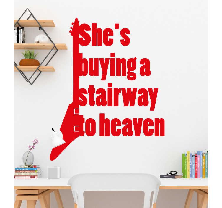 TenStickers. 천국의 계단 가사 스티커. ``그녀는 천국으로 계단을 사다 ''라는 텍스트가있는 노래 가사 벽 스티커. 사용 가능한 색상 및 크기 옵션 중 하나로 구입할 수 있습니다.