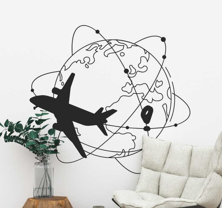 Tenstickers. Matkustaa maailman seinätarra. Matka- ja seikkailuseinätaidetarra kaunistamaan mitä tahansa seinätilaa kotona tai toimistossa. Valitse sopivin koko ja haluaman väri.