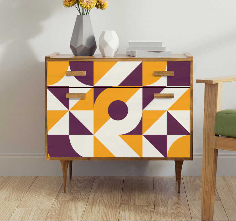 TenStickers. Vintage abstract meubel zelfklevende sticker. Een abstracte meubelvinyl zelfklevende sticker om het oppervlak van de meubels in huis te bedekken. Koop het in de maat die geschikt is voor de ruimte die je hebt.