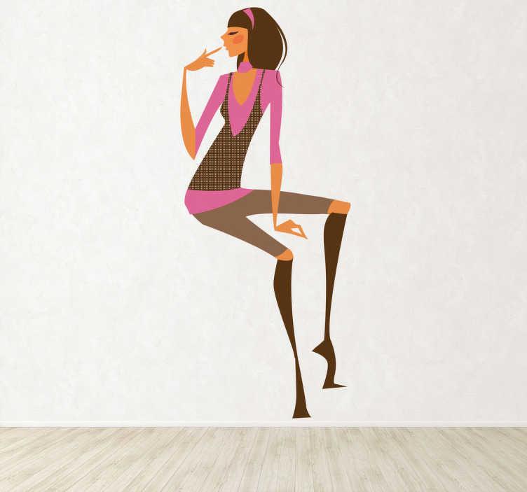 TENSTICKERS. ブーツの壁のステッカーを持つ少女. おしゃれな服と長い茶色のブーツを着ている若いスタイリッシュな女性を示す華麗なファッションウォールステッカー。