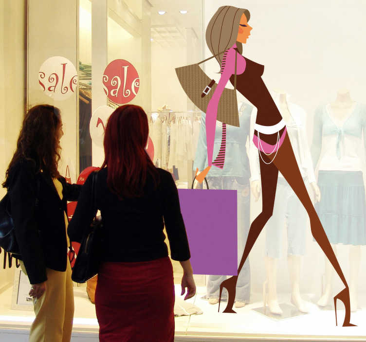 TenStickers. Sticker shopping glamour. Une femme moderne en talons hauts à la pointe de la mode en pleine journée shopping chargée de tous ses achats... Un sticker moderne et original pour personnaliser votre dressing ou votre boutique de mode.
