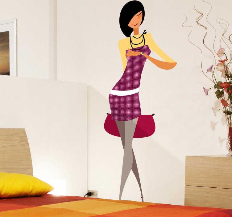 TenVinilo. Vinilo decorativo chica joven esperando. Simpática joven con seductor vestido en color morado que realza sus largas piernas. Adorna tu dormitorio con este original Adhesivo.