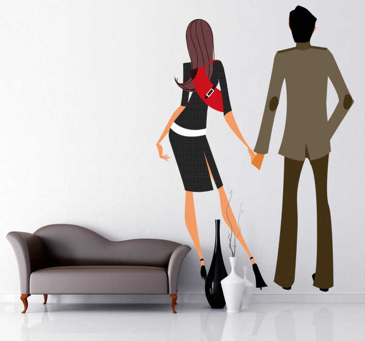 TenStickers. Couple Facing The Wall Decorative Sticker. A wall decal of a very elegant and deep in love young couple holding hand.