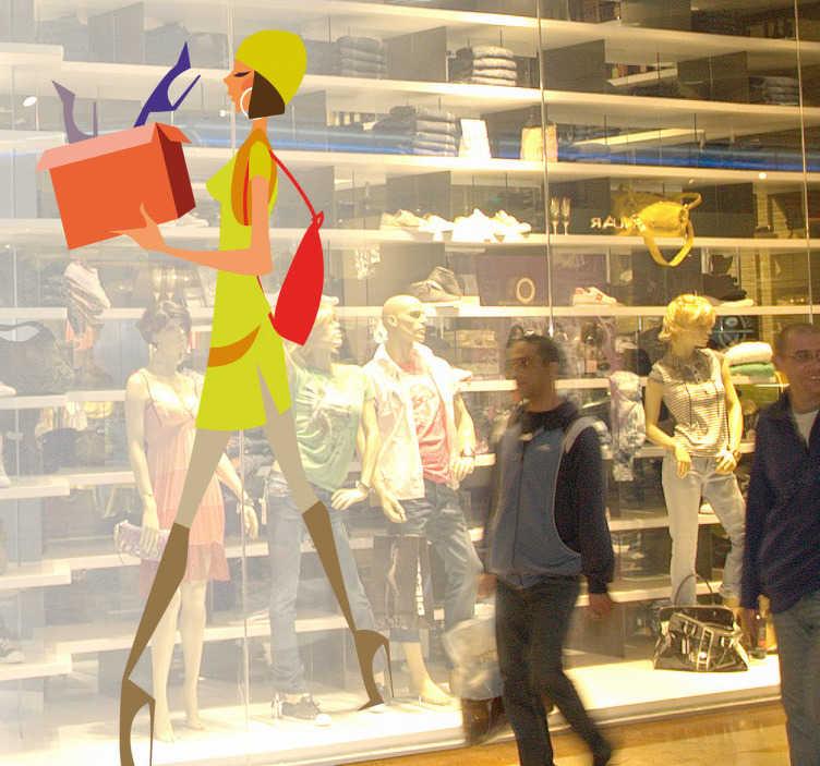 TenStickers. Sticker elegante vrouw schoenen. Muursticker met een elegante en modebewust vrouw dat allemaal schoenen koopt. Leuke manier om jouw winkelmuren of etalages mee te decoreren!