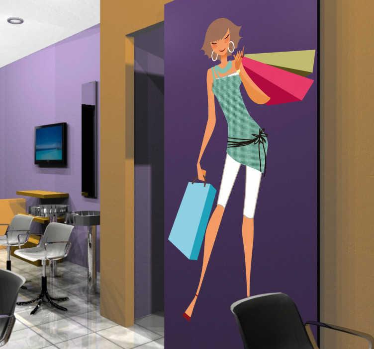 Sticker femme mode shopping