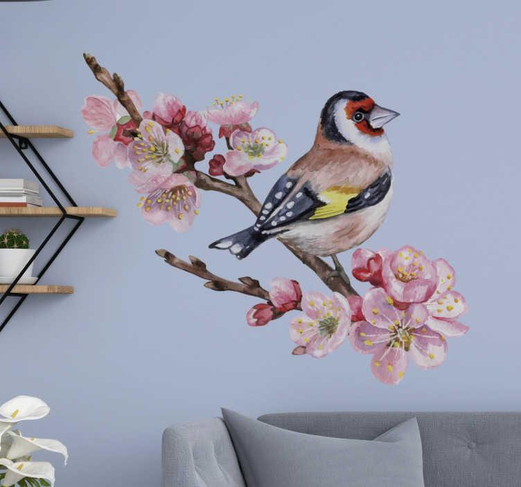 TENSTICKERS. 鳥と大きな花鳥ステッカー. 木の枝に鳥のデザインの装飾的な花の壁のステッカー。適用が簡単で、必要なサイズで利用できます。