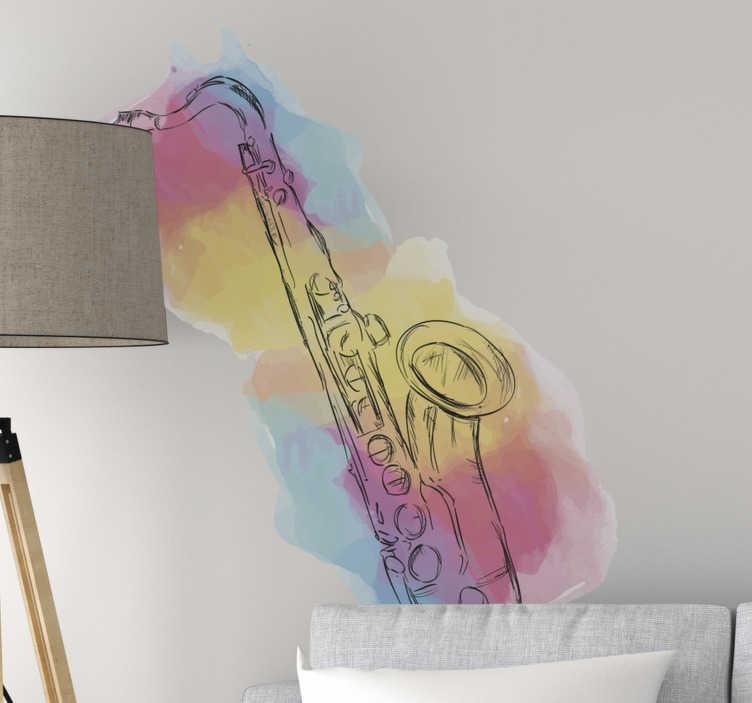TenStickers. 다채로운 악기 뮤지컬 벽 스티커. 음악 벽 아트 스티커 여러 가지 빛깔 된 배경에 설계되었습니다. 모든 평평한 벽 표면에 이상적입니다. 다른 크기에서 사용할 수 있습니다.