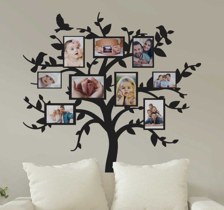 TenStickers. Frames family tree tree wall decal. Tree with family frame wall sticker that you can place lovely memory photos on. It is available in different colours and size options.