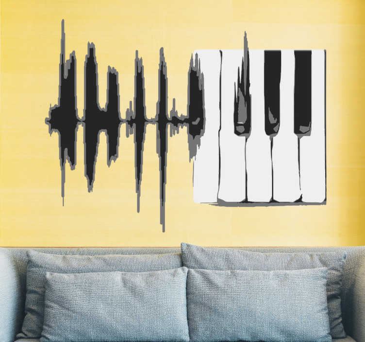 TenStickers. keys with line  musical sticker. Musical wall art decal with the design of sound key lines. Choose it in the best suitable size ideal for a space decaoration.