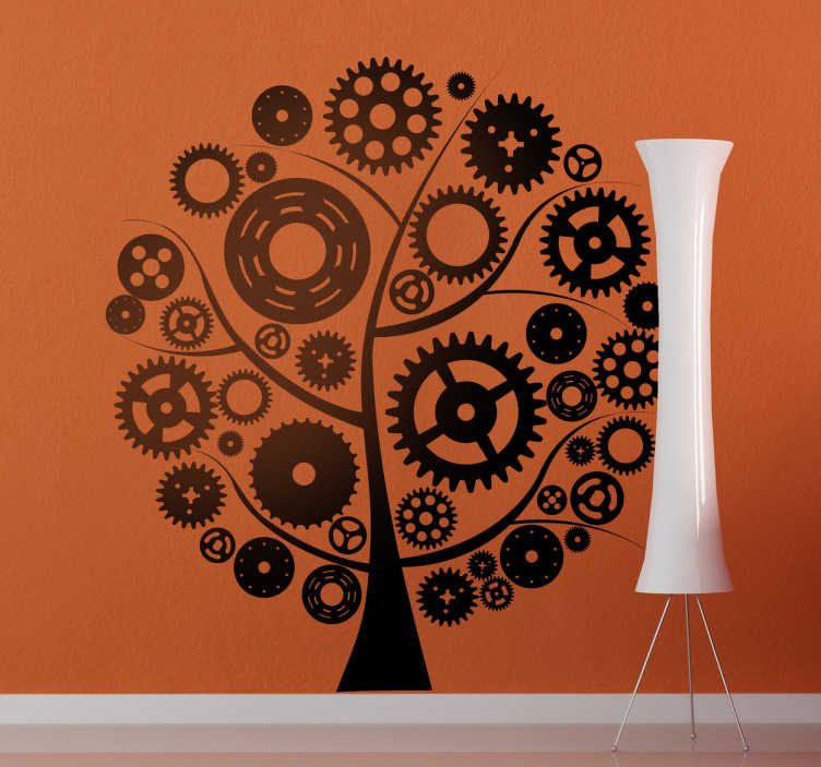TenVinilo. Vinilo decorativo gira gira. Pegatina adhesiva para oficina o taller de producción formada por la silueta de un árbol creado a partir de diferentes tipos de engranajes.