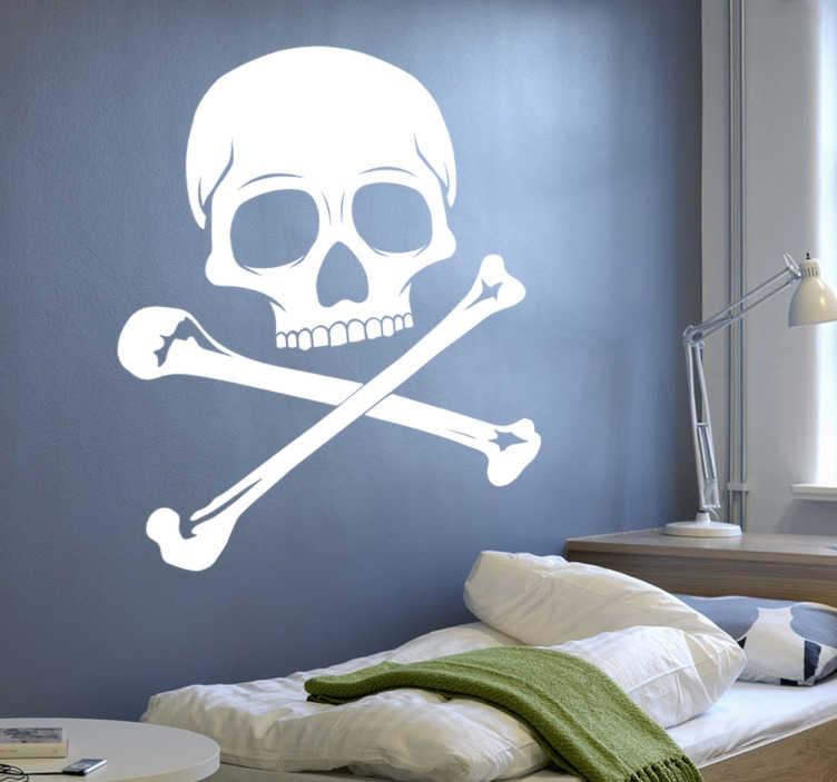TenStickers. Totenkopf Aufkleber. Mit diesem Totenkopf Wandtattoo können Sie Ihrem Raum eine persönliche Note verleihen und sich wie ein echter Pirat fühlen.