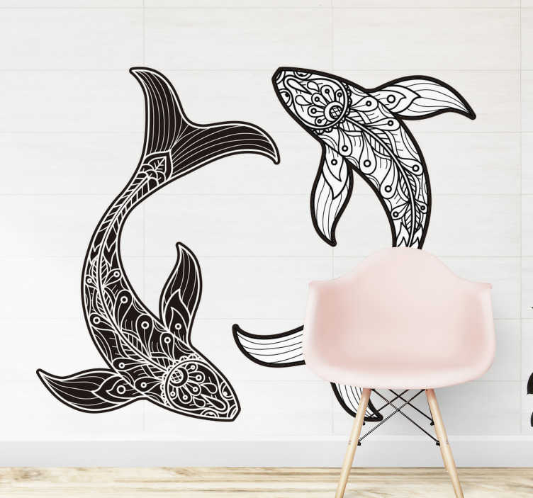 TenStickers. Mandala fishes fish wall decal. Decorative home wall sticker with the design of fish in mandala prints. An ideal decoration for a living room space. Choose it in any size desired.