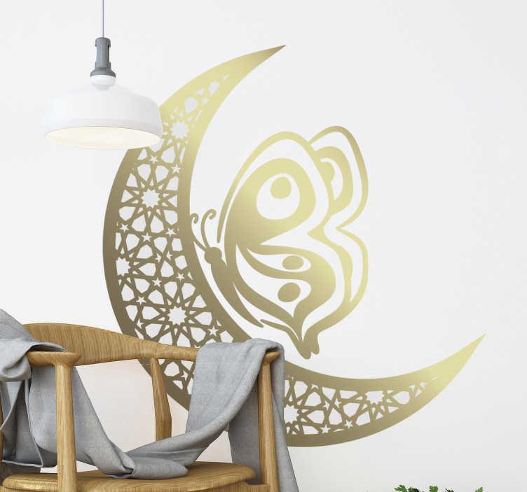 TenStickers. 月亮和蝴蝶曼陀罗蝴蝶墙贴. 装饰家居墙贴纸,具有美感和风格的星星和蝴蝶设计。提供不同尺寸。
