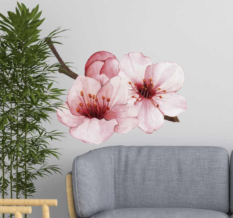 TenVinilo. Vinilo decorativo flores color rosa. Diseño decorativo de vinilo para pared del hogar de una increíble flor rosa elegante. Decoración ideal para salón o comedor