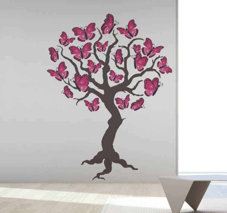 TenStickers. Pink tree  butterfly sticker. Decorative home wall art sticker with the design of tree with butterflies as leaves and flowers. An ideal decoration for a living room space.