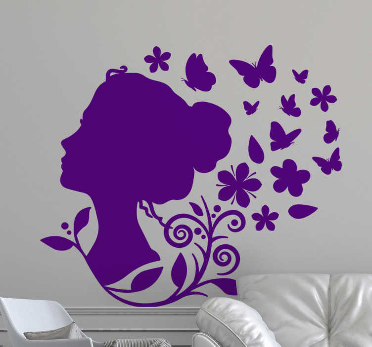 TenStickers. Woman flowers outline butterfly sticker. Beautiful butterflies wall decal with the silhouette of a lady. It comes in different colours and size o choose it from.