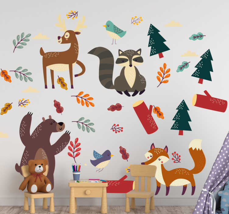 TenStickers. Baby animals wild animal decal. Animal wall sticker with a lot of different cartoon animals with plants and flowers in colorful appearance. An ideal decoration for children's room.
