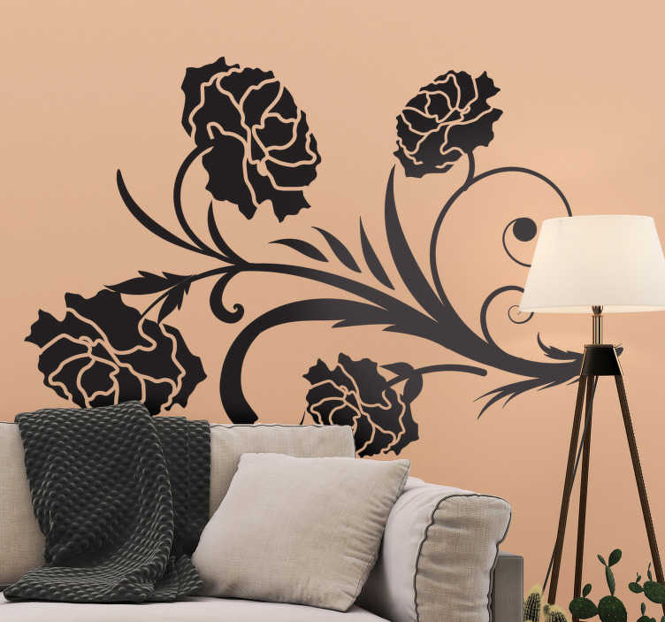 TenStickers. Carnation silhouette floral wall decal. Decorative carnation flower plant silhouette wall sticker for a living room. Available in different colours and sizes. Easy to apply.