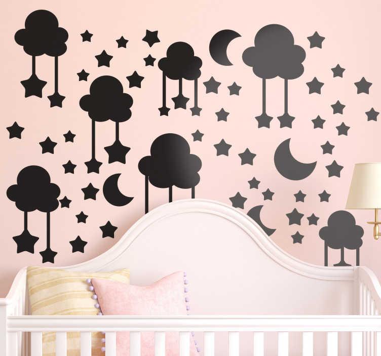 TenStickers. 구름에 꿀 어린이 침실 벽 스티커. 별, 달과 구름의 특징을 가진 아이 방 장식을위한 설명 벽 스티커. 다른 색깔 및 크기에서 유효한.