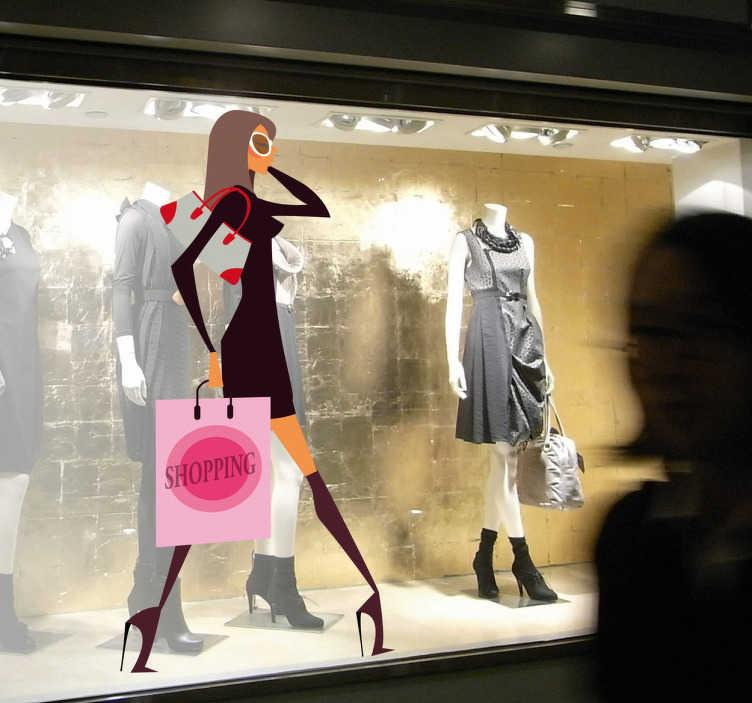 TenStickers. Wandtattoo trendy shopping. Wandtattoo einer Frau beim Shoppen - aufgestylt, Tüten in der Hand, Handy am Ohr, Sonnebrille auf dem Kopf und eine Tasche über der Schulter.