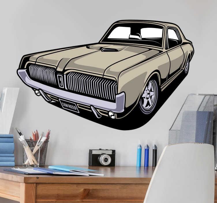 TENSTICKERS. マスタングカーデカール. 家を飾るために元のムスタング車の壁のビニールのステッカー。適用が簡単で、サイズはどの次元でも選択できます。高品質のビニール。