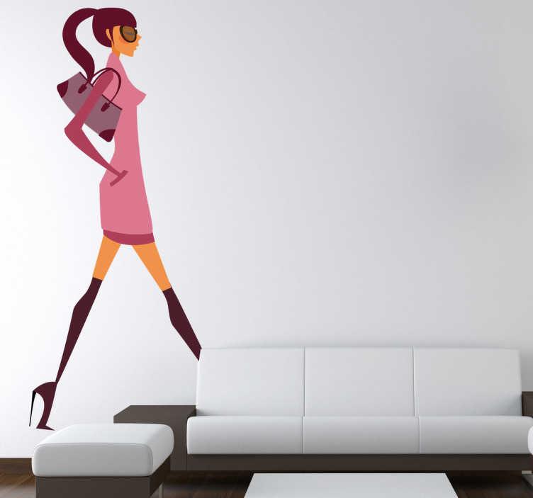 Vinilo decorativo chica fashion paseando