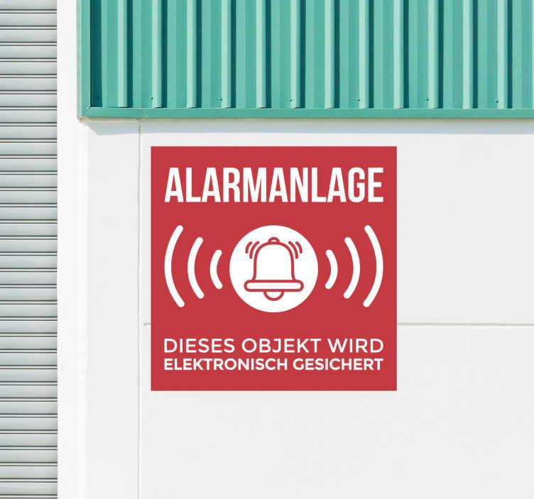 TenStickers. Alarmsystem Zeichen Warnung Aufkleber. Ein ikonischer Aufkleber für das Alarmsystem aus bestem Vinylmaterial. Einfach aufzutragen und selbstklebend. Wählen Sie die gewünschte Größe.