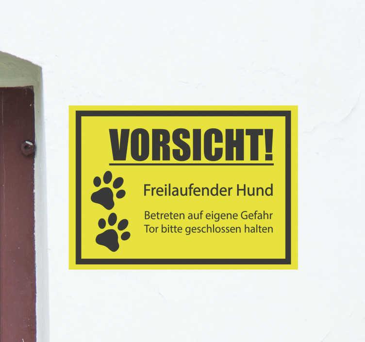 TenStickers. Warnschild freilaufender Hund Aufkleber. Aufkleber mit Warnschilder für Hunde zum Anbringen an Türen oder Wandflächen in Wohn- oder Geschäftsräumen. Kaufen Sie es in der Größe, die für Ihren Raum ideal ist.