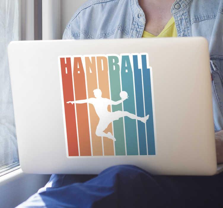 Tenstickers. Värikäs käsipallo kannettavan ihon. Koristeellinen käsipallo kannettava tietokone tarra luotu värikäs siluetti pelaaja. Valitse se parhaan kokoisena. Helppo levittää.