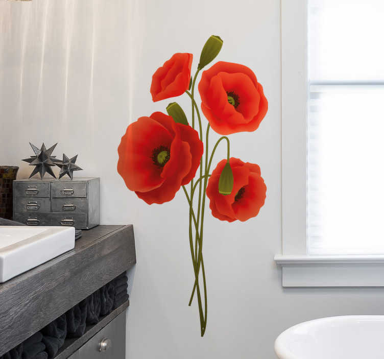 TenStickers. Delicate-poppy-seed flower wall decor. Bathroom wall striker with the design of a delicate poppy flower.Decorate a bathroom space ion this amazing design that is available in different size