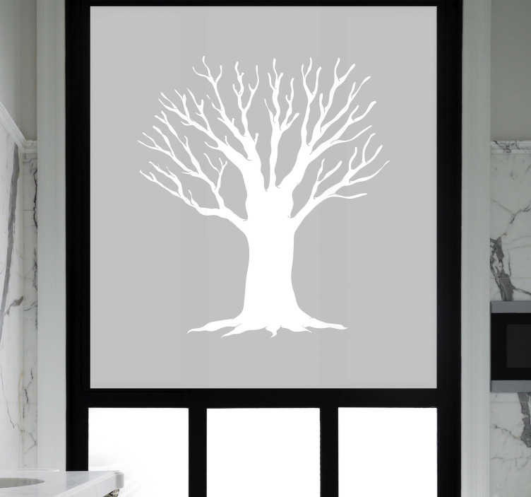 TenStickers. Bathroom tree sketch window decal. Decorative window sticker for bathroom with the design of a sketched tree. Available in different colours and sizes. Easy to apply.