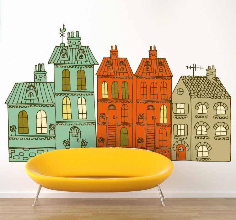 TenStickers. Sticker huizen simplistisch. Deze sticker omtrent een verscheidene flatgebouwen in een simpel, maar decoratief ontwerp. Ideaal voor jong en oud!
