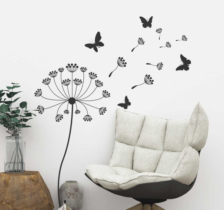 TenStickers. Dandelion and butterfly  flower wall decor. Decorative home wall sticker with the design of dandelion flower plant and butterflies. Available in different colours and sizes.