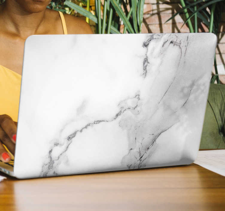 TenStickers. Marble laptop  laptop skin. Laptop vinyl skin sticker designed with ornamental texture of marble. Customisable to fit any required surface. Easy to apply.