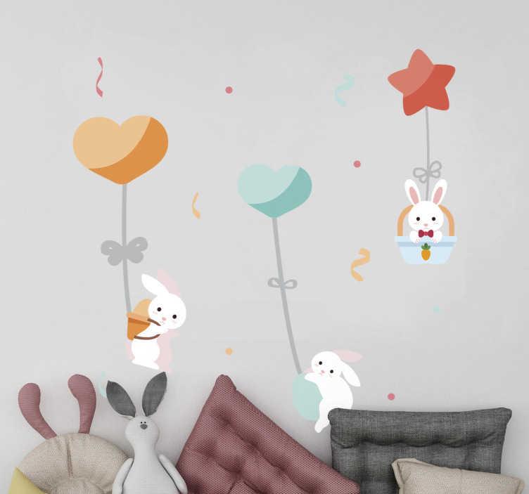 Tenstickers. Lastentarha söpöllä kanilla kuva seinämaalaus. Koristeellinen kodiseinätarra kanien suunnittelulla ja kauniit ominaisuudet lasten makuuhuoneeseen. Helppo levittää.