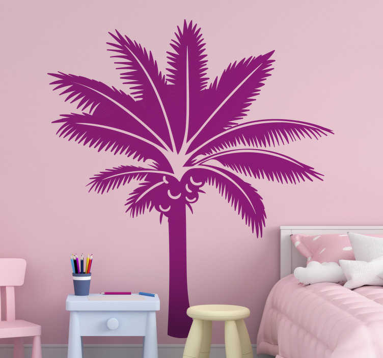 TenStickers. Pink palm tree wall decal. Decorative home wall sticker design of a palm tree plant. An ideal design for any space in the home. Easy to apply and self adhesive.