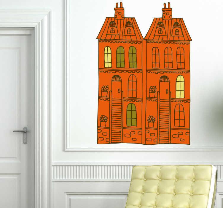 TenStickers. Naklejka pomarańczowa kamienica. Naklejka dekoracyjna przedstawia dwa pomarańczowe domy przedstawiające fragment kamienicy. Wypełnij wnętrza nową, orginalną dekoracją ścienna.