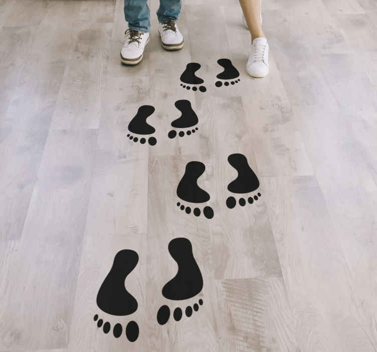 TenStickers. Step footprints vinyl sticker floor tile. Floor vinyl sticker with the design of steps foot prints.Available in different colour and sizes. Easy to apply and self adhesive.