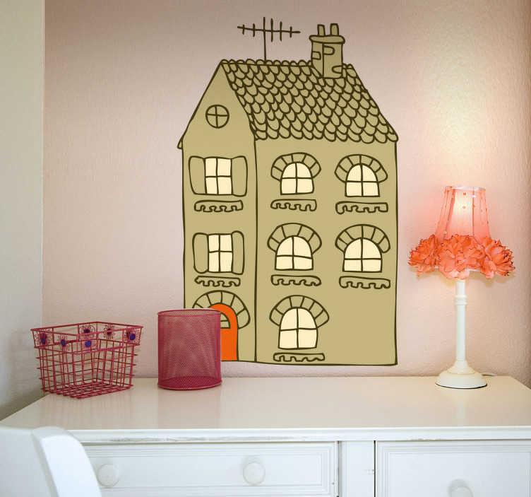 TenStickers. Stencil muro disegno abitazione. Decorazione adesiva con una graziosa casetta dotata di finestrelle.Idea sticker ideale per le pareti della tua camera o della cameretta dei bimbi.