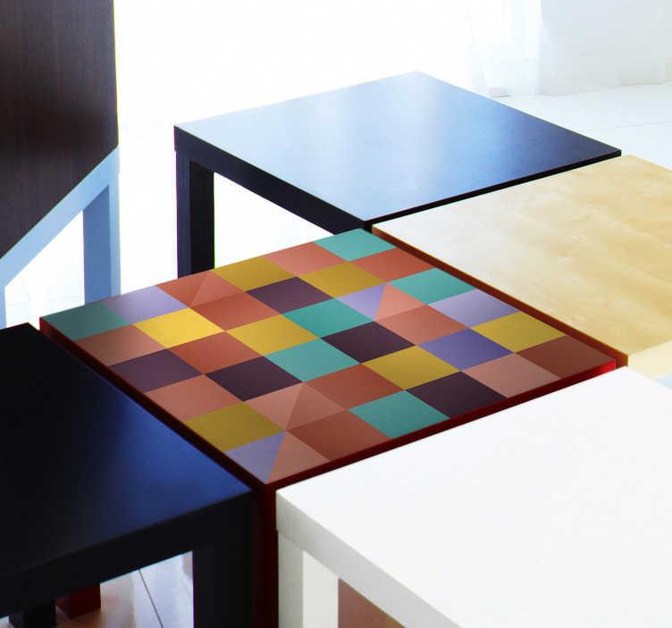 TenVinilo. Vinilo para mesas cuadrados multicolores. Vinilo adhesivo para muebles con diseño de cuadrados multicolores ideal para mesas y muebles de hogar ¡Fácil de colocar!