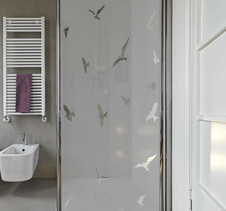 TenStickers. Translucent shower with birds shower screen decal. Shower screen sticker with the design of flying birds . Customize the size dimension needed for a decoration. Easy to apply with no bubble effect.