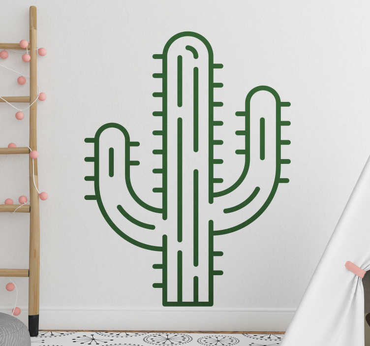 TenStickers. Giant cactus plant wall decal. Decorative home wall sticker with the design of a giant cactus plant.Easy to apply on any flat surface. It comes in different size and colour options.