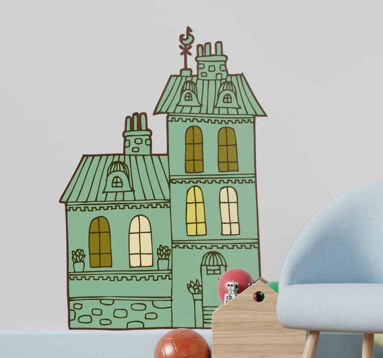 """TenStickers. Wandtattoo Kinderzimmer Burg. Dekorieren Sie das Kinderzimmer mit dieser tollen Burg als Wandtattoo! Die Zeichnung im """"Trickfilm-Stil"""" macht es sehr attraktiv für die Kleinen"""