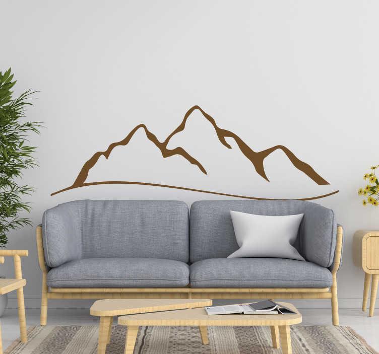TENSTICKERS. ミニマルな山の自然の壁のステッカー. 山のデザインが描かれた自然の壁のステッカーをスケッチして、平らな面を飾り、自然で穏やかな平和な雰囲気を作り出します。